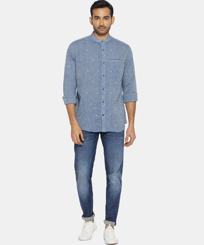 Stone blue jamdani mandarin collared shirt