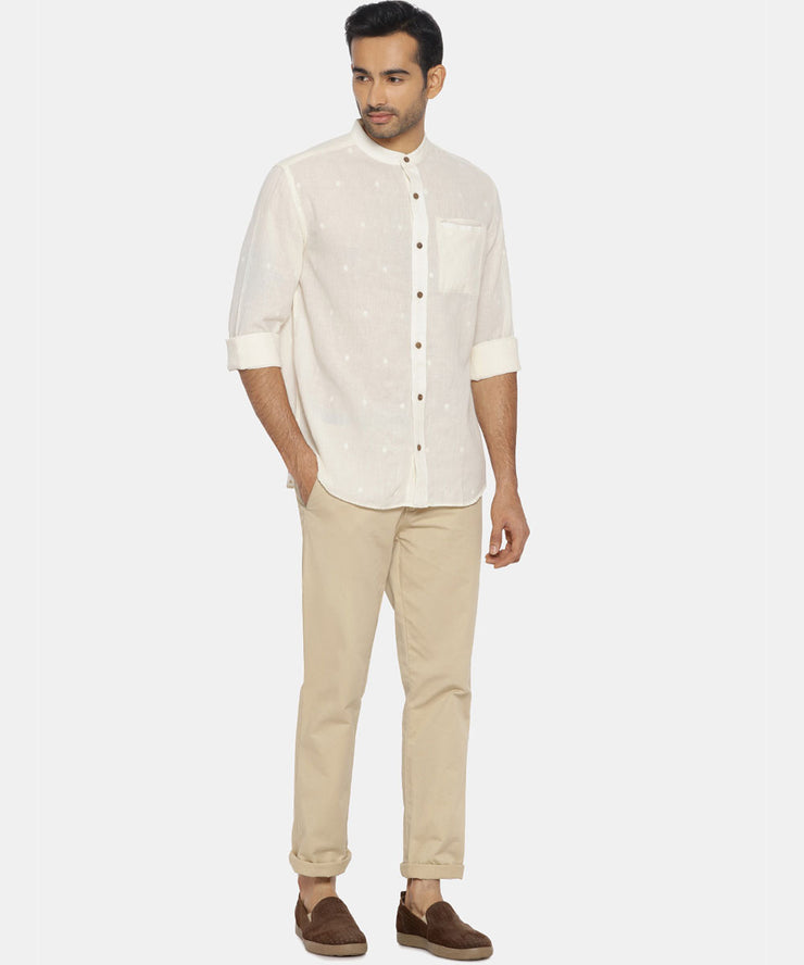 Natural white jamdani mandarin collared shirt