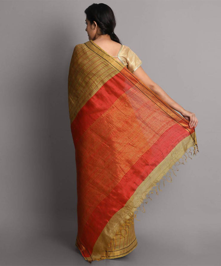 Gold handwoven tussar silk saree