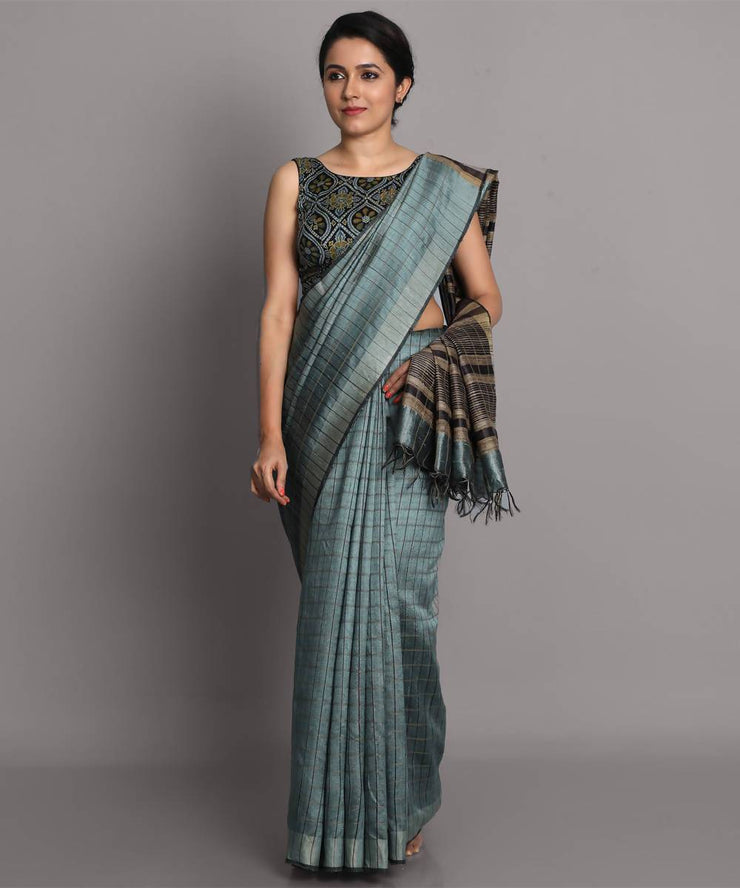 Blue grey handwoven tussar silk saree