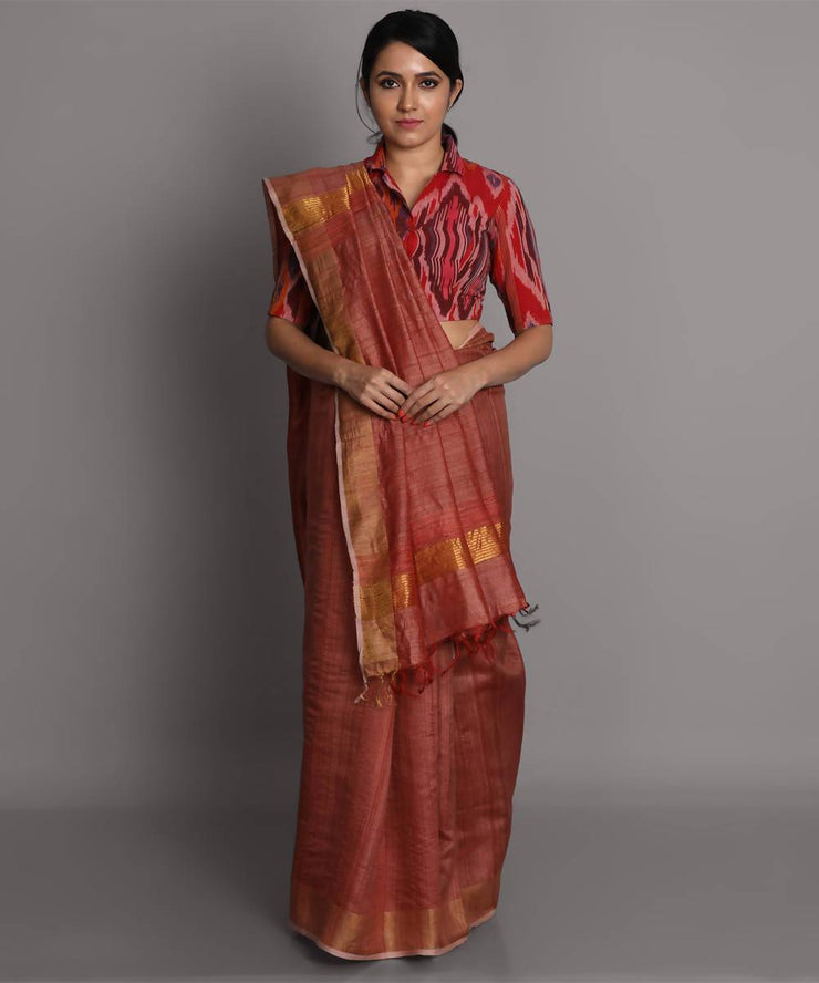 Brown handwoven tussar silk saree