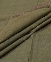green and beige checks handloom cotton fabric