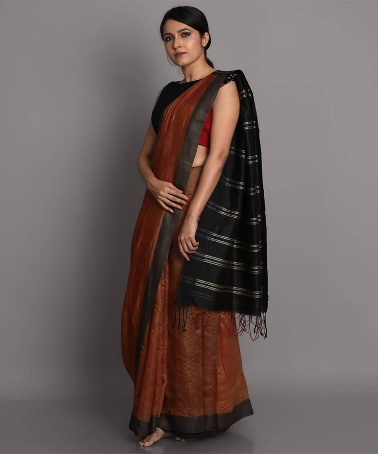 Light brown handwoven tussar silk saree