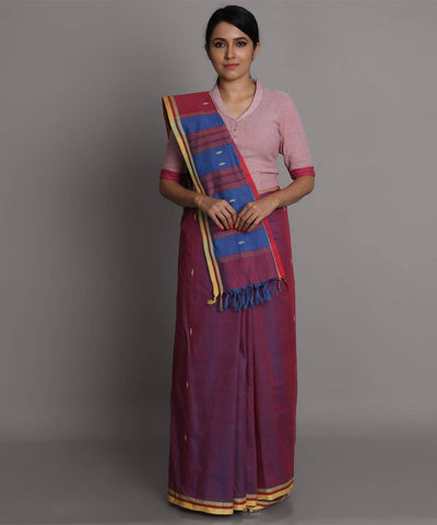 Magenta blue cotton handwoven saree