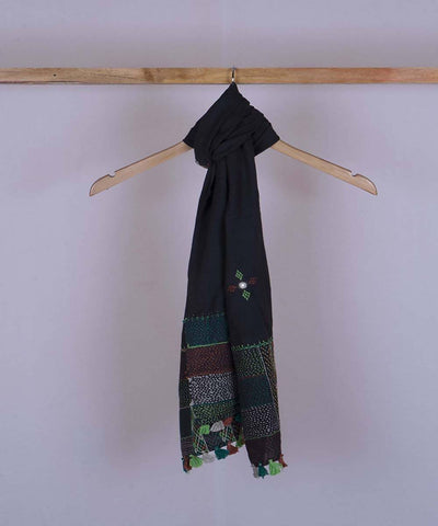 Black lambani hand embroidered cotton stole