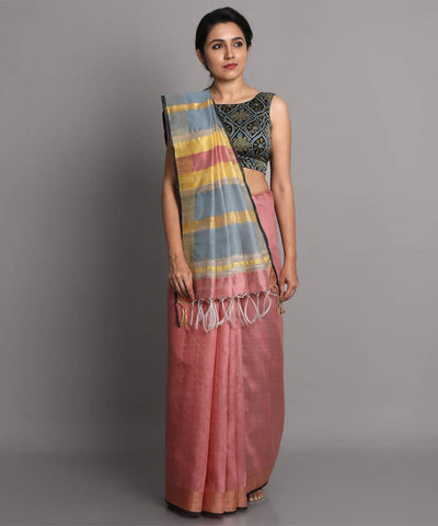 Light pink handwoven tussar silk saree