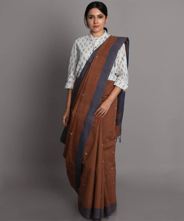Brown cotton jamdani handwoven saree