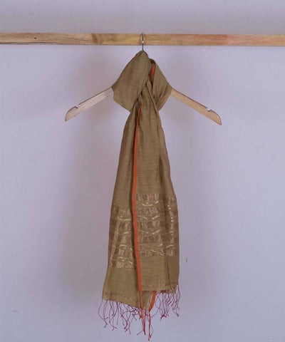 Mustard brown handwoven silk stole