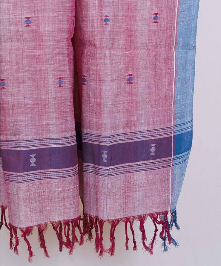Red handspun handwoven natural dyed cotton dupatta
