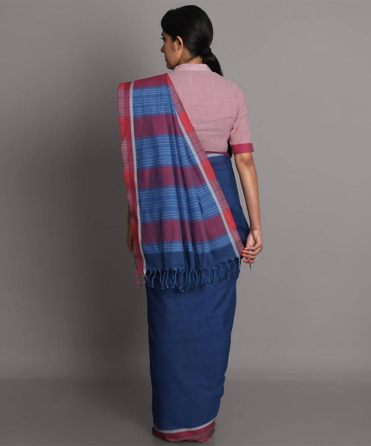 Dark blue cotton handwoven saree
