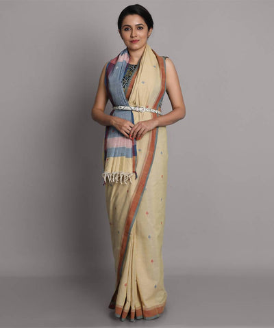 Beige jamdani cotton handwoven saree
