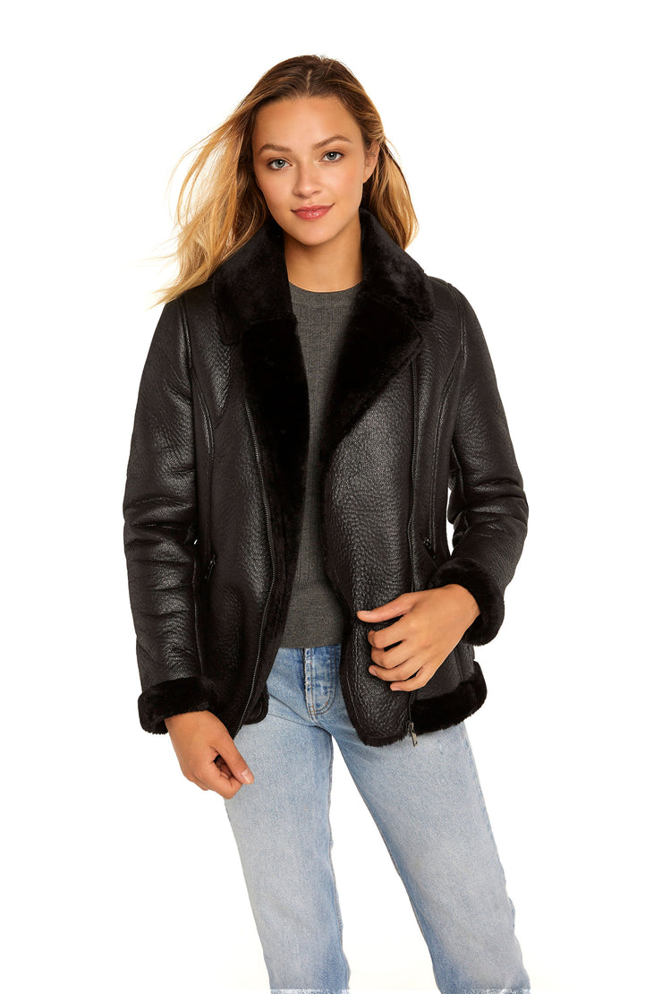 Women's Faux Shearling aviator jacket black detail