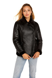 Women's Faux Shearling aviator jacket black front