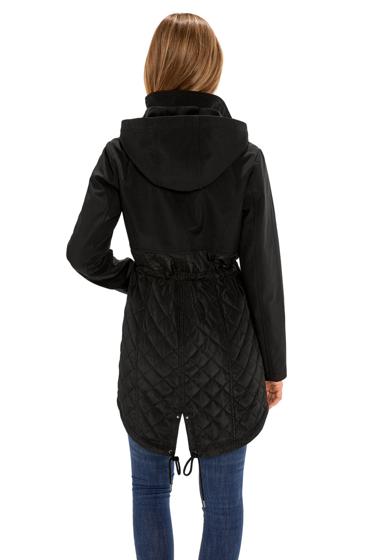 Women's Soft Shell anorak coat black back