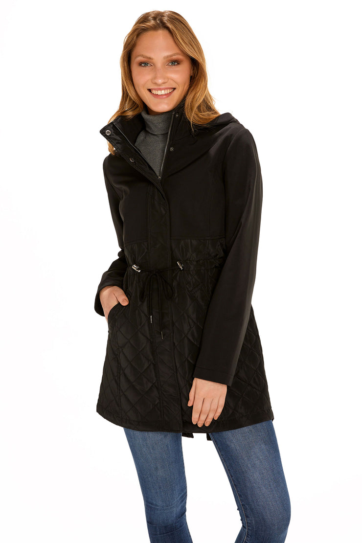 Women's Soft Shell anorak coat black detail