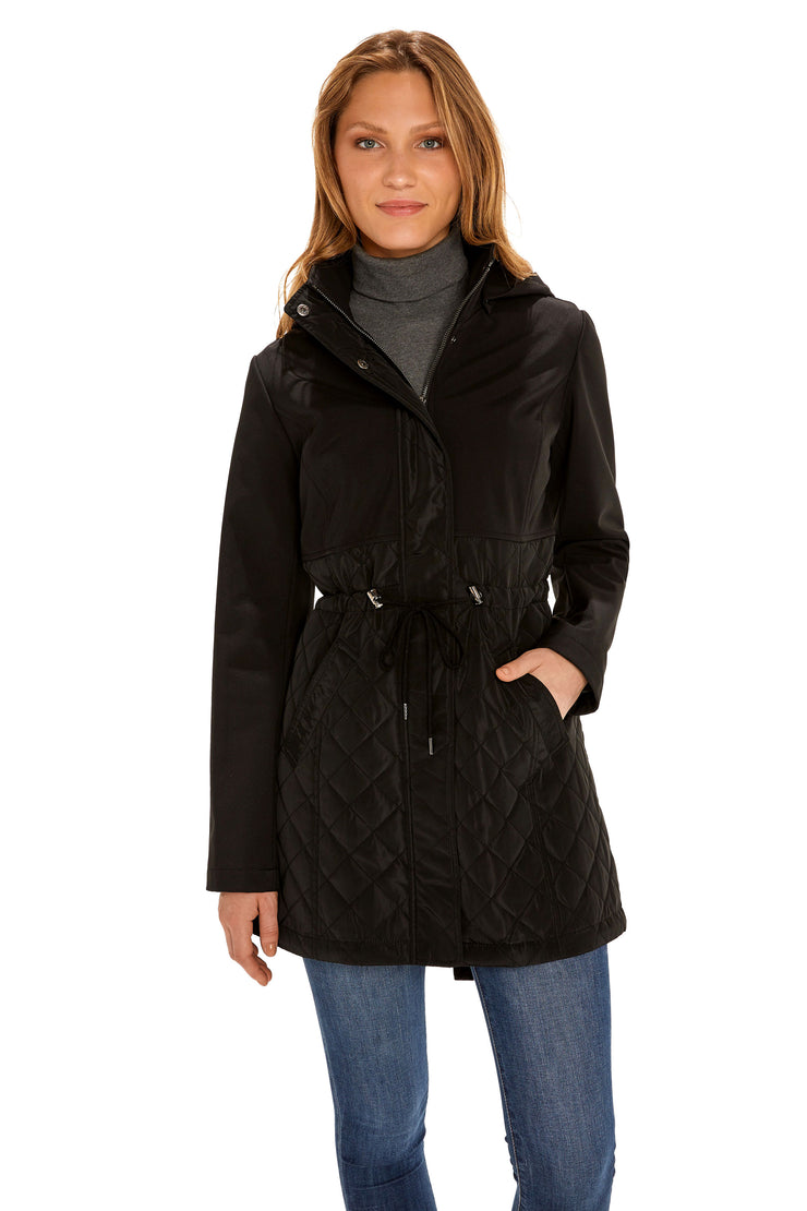 Women's Soft Shell anorak coat black front