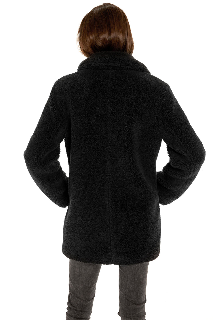 Women's Faux Fur sherpa coat black back