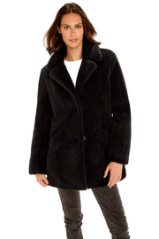 Women's Faux Fur sherpa coat black detail
