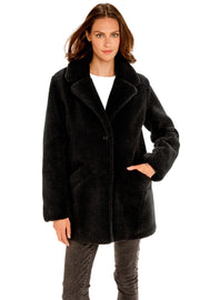 Women's Faux Fur sherpa coat black front