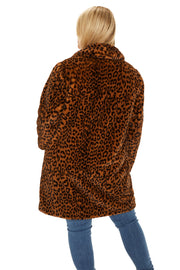 Plus Size Faux Fur soft coat plus size leopard back