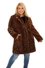 Plus Size Faux Fur soft coat plus size leopard front