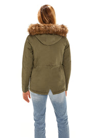 Juniors' Fur trim parka coat antique olive back