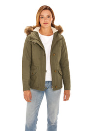Juniors' Fur trim parka coat antique olive detail