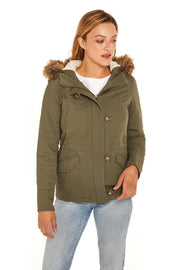 Juniors' Fur trim parka coat antique olive front
