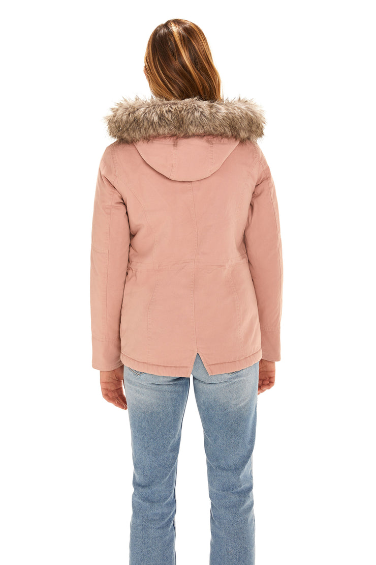 Juniors' Fur trim parka coat blush back