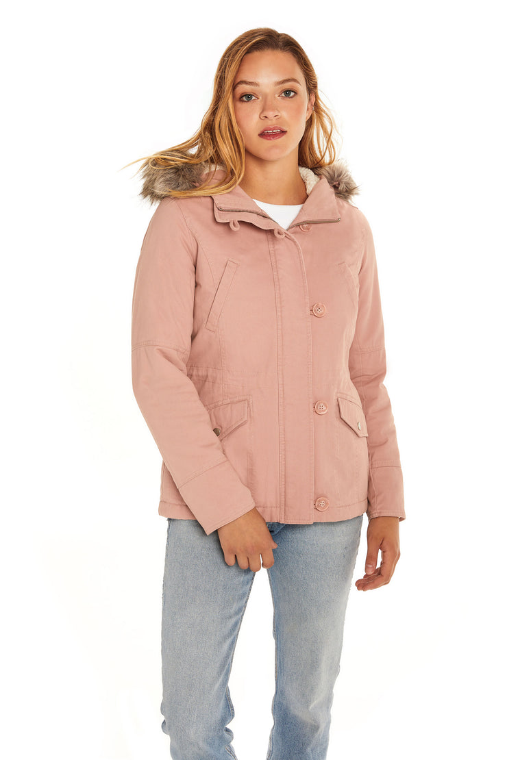 Juniors' Fur trim parka coat blush detail