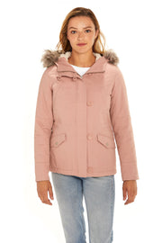 Juniors' Fur trim parka coat blush front