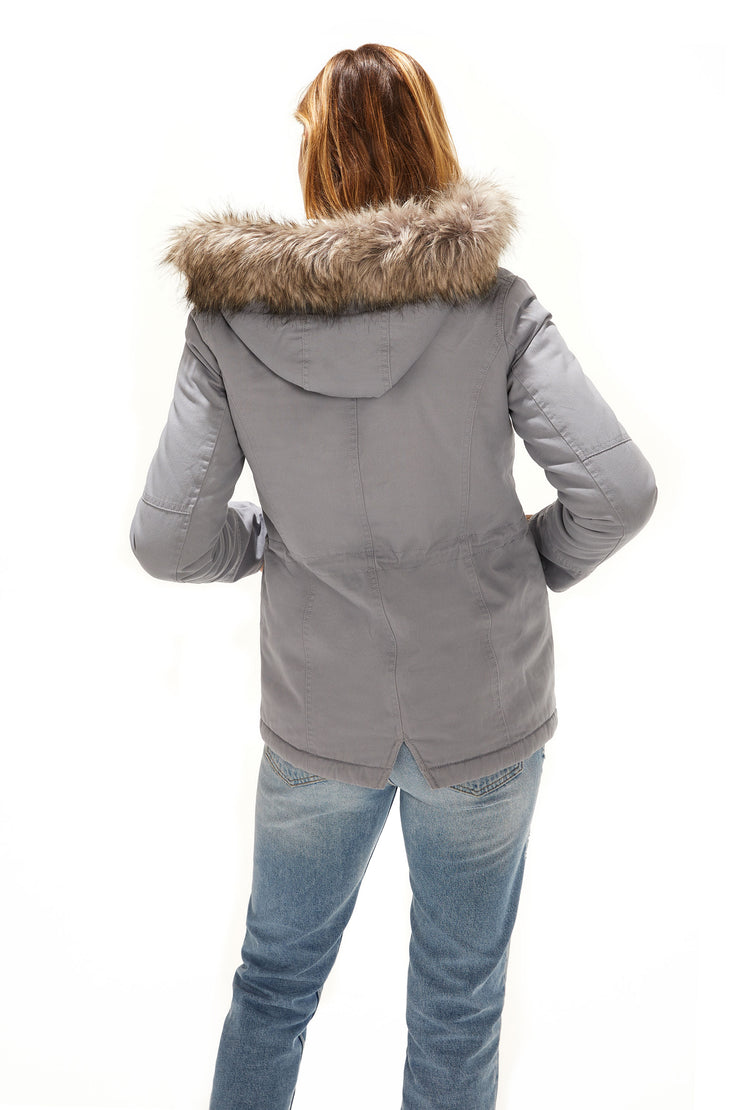 Juniors' Fur trim parka coat dusty blue back