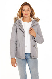 Juniors' Fur trim parka coat dusty blue detail