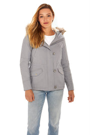 Juniors' Fur trim parka coat dusty blue front