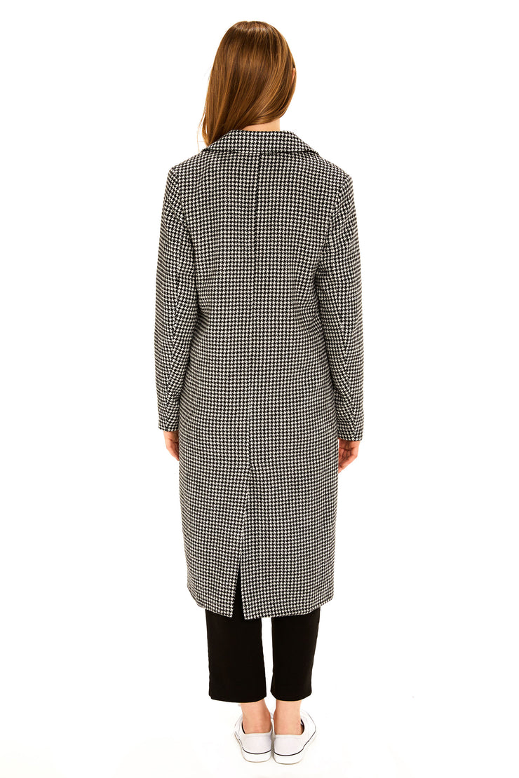 Women's Faux Wool long coat black/white back