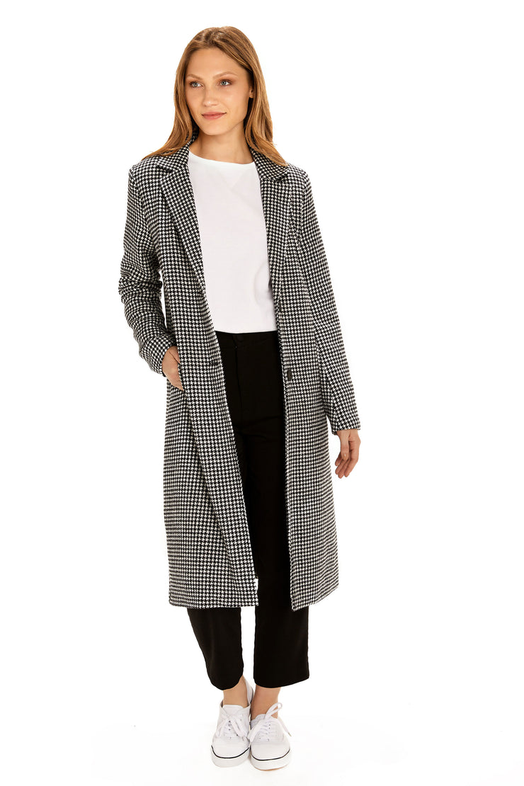 Women's Faux Wool long coat black/white detail