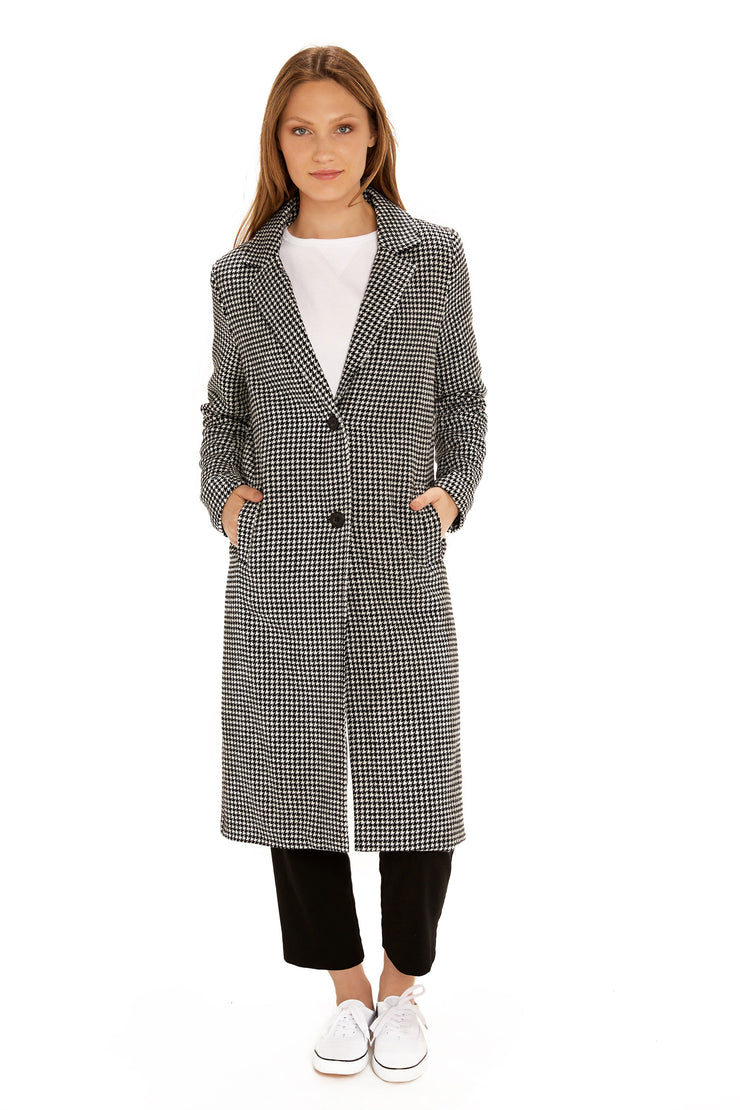 Women's Faux Wool long coat black/white front