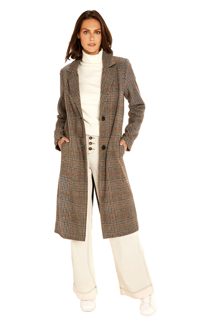 Women's Faux Wool long coat brown/black detail