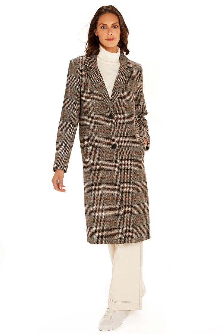 Women's Faux Wool long coat brown/black front