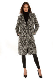 Women's Faux Wool long coat grey/black detail