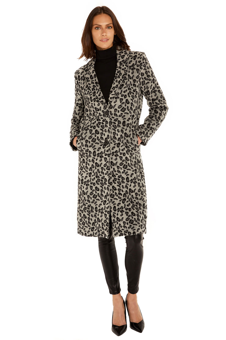Women's Faux Wool long coat grey/black front