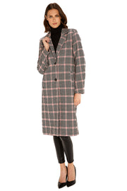 Women's Faux Wool long coat pink/black detail