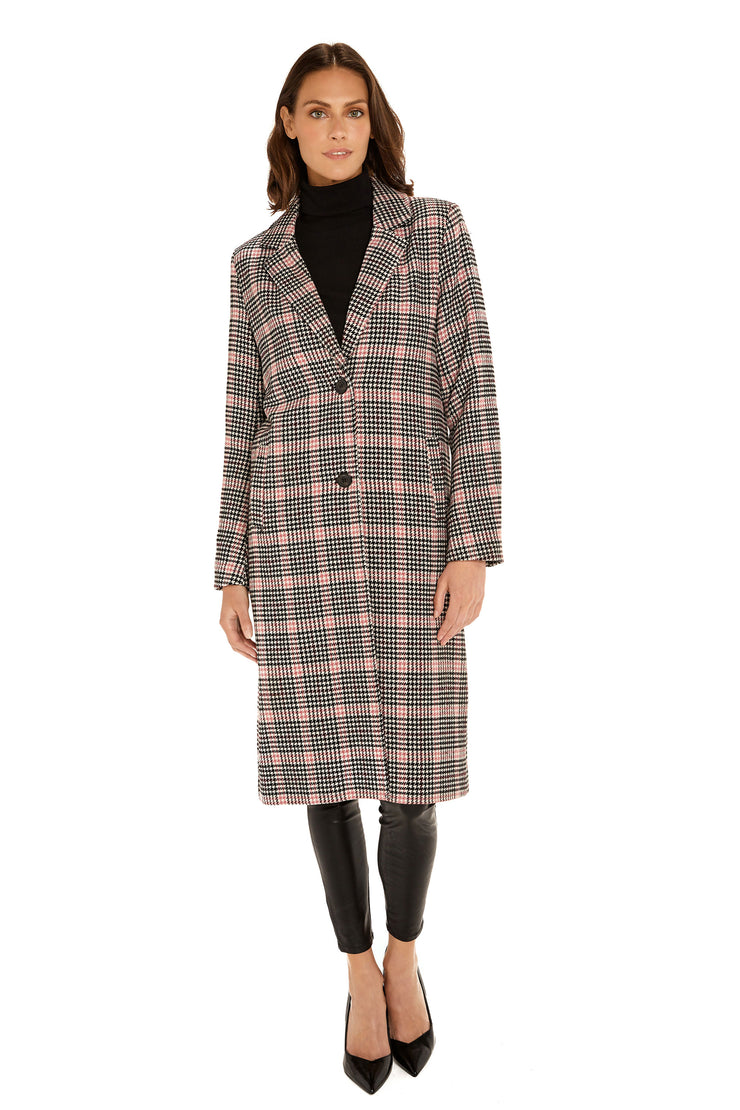 Women's Faux Wool long coat pink/black front