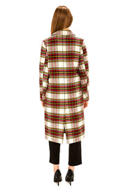 Women's Faux Wool long coat red/white back