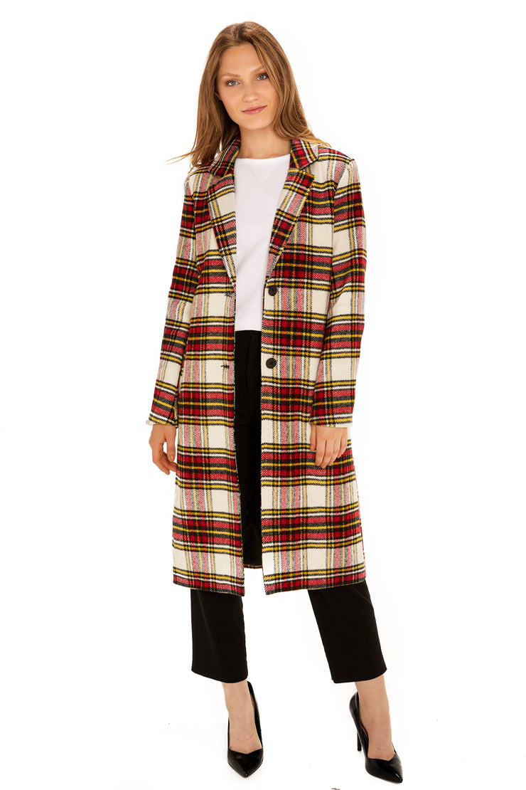 Women's Faux Wool long coat red/white detail