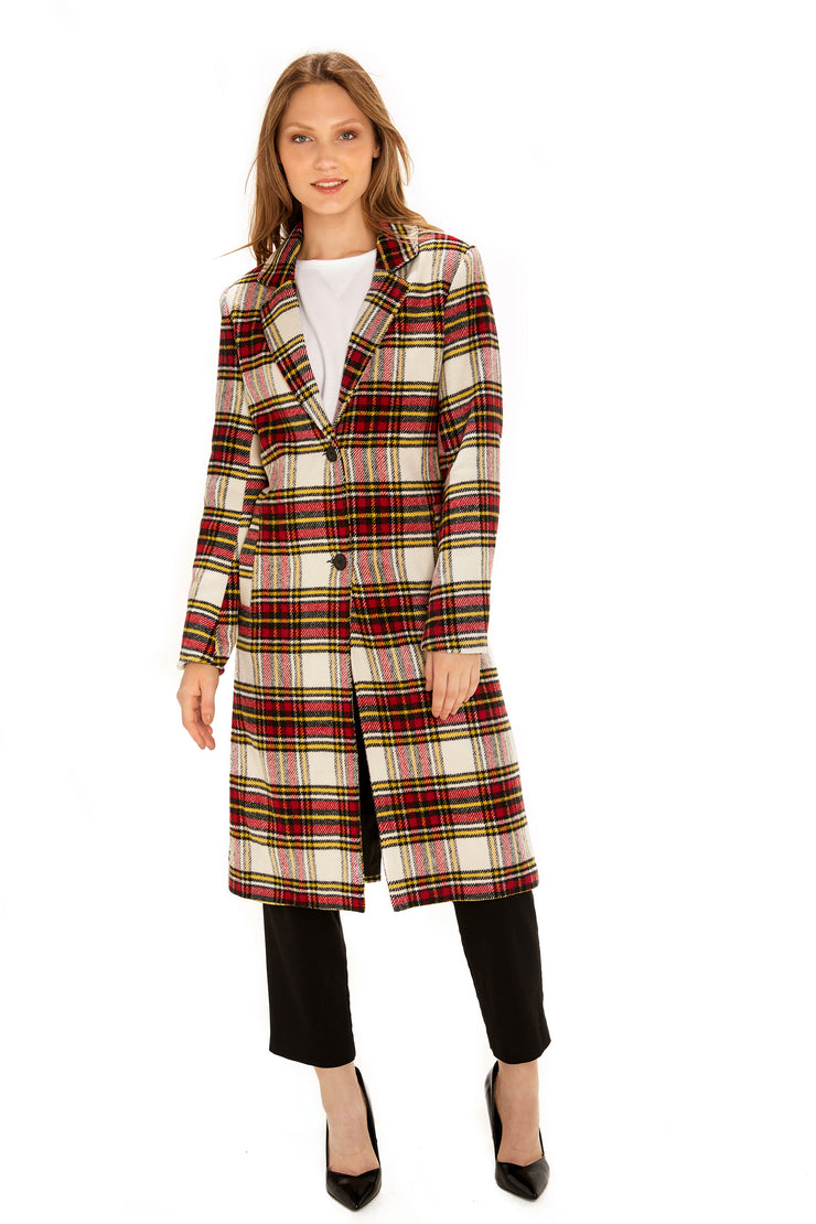 Women's Faux Wool long coat red/white front