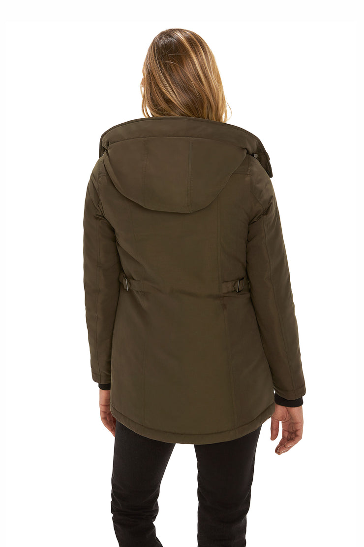 Juniors' Hooded parka coat dark olive back