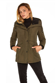 Juniors' Hooded parka coat dark olive detail