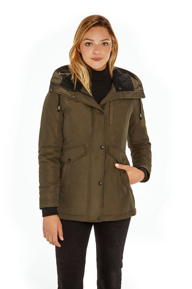 Juniors' Hooded parka coat dark olive front