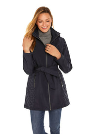 Women's Soft Shell and quilt trench coat navy front